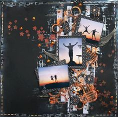 Mixed media layout on black cardstock start to finish tutorial. Mixed Media Scrapbooking, Scrapbooking Layouts, Scrapbook Pages, Art Journal Tutorial, Scrapbooks, Card Stock, Sketches, Paper Crafts, Doll