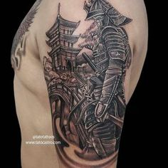 I seriously love the colors and shades, outlines, and fine detail. This is really an excellent idea if you want a Samurai Tattoo Sleeve, Samurai Warrior Tattoo, Egyptian Tattoo Sleeve, Dragon Sleeve Tattoos, Warrior Tattoos, Leg Tattoos, Tattoos For Guys, Armor Tattoo, Norse Tattoo