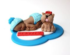 Fondant Baby Boy in Cashmere Baptism Topper by LesPopSweets