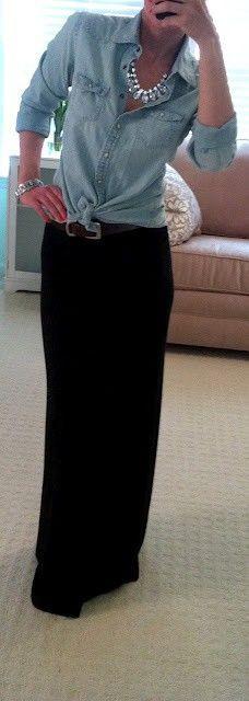Black maxi, ties up denim shirt and  blinging bib necklace