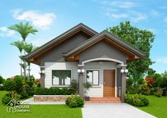 Tiny House Plan with 2 Bedrooms - Cool House Concepts 2 Bedroom House Design, Modern Bungalow House Design, Small Modern House Plans, Minimal House Design, My House Plans, Simple House Design, Craftsman Style House Plans, House Design Pictures, House Construction Plan