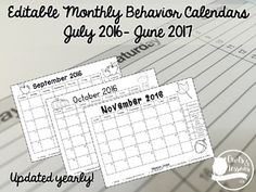 Updated for the 2016-2017 school year!Check out my blog post on how these work in my personal classroom!These behavior calendars are a great way to increase ownership of student behavior and parent communication.  I personally used these calendars with my classroom clip chart and received good results and feedback from students and parents.I put these inside a 3 prong plastic folder with a page protector.