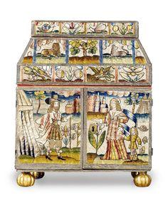 17th century Charles II Wilby House Casket silkwork casket