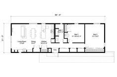Modern Style House Plan - 2 Beds 1 Baths 1397 Sq/Ft Plan #497-59 Floor Plan - Main Floor Plan - Houseplans.com