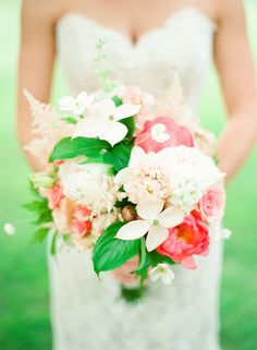 peony, dogwood, spray rose and astilbe bouquet by Lee Vazquez Floral Design