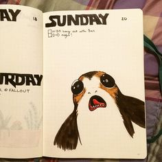 Finally did a #starwars #theme in my #bujo ❤️ Of course it just has one giant #porg because #Porgs are #toocute ❤️ #teamporg #porgsofinstagram #thelastjedi #handdrawn #drawing #art #artist #dibujo #bulletjournal #bulletjournalformyvalentine