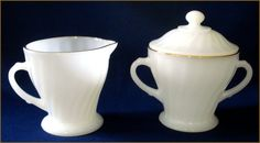 Fire King Shell Pattern Cream & Sugar Set by SusansShopSelections