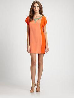 Trina Turk Beaded Silk Colorblock Dress