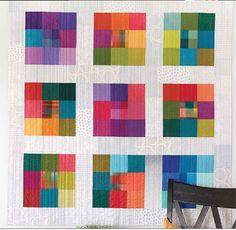 This modern Nine Patch packs a punch with its vibrant colors. Christine Barnes designed this 52 This modern Nine Patch packs a punch with its vibrant colors. Christine Barnes designed this 52 Modern Quilting Designs, Modern Quilt Patterns, Quilting Patterns, Amische Quilts, Mini Quilts, Midcentury Quilts, Nine Patch, Low Volume Quilt, Watercolor Quilt