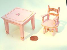 Doll House Table & Chair. TynieToy Miniature. TynieToy Furniture. TynieToy Chair / Table. Pink Table / Chair. Nursery Furniture by…