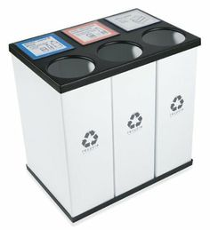 RecycleBoxBin - Triple Recycling Recycle Bin, Holds 33 Gallon Bags, Unique Changeable Label System, Light Weight, All Plastic Construction Recycling For Kids, Recycling Bins, Recycling Station, Recycling Center, Compost, Recycling Information, Corrugated Plastic, Plastic Bins, Electronic Recycling