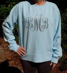 Monogrammed Comfort Colors Sweatshirt - you choose glitter monogram color and sweatshirt color, lots to choose from! by PoshPrincessBows1