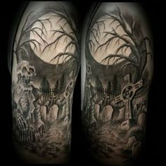 graveyard tattoo sleeve - Google Search