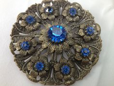 Art Deco Czech 1930s Neiger blue glass Brooch / Pin by JewelsPast on Etsy