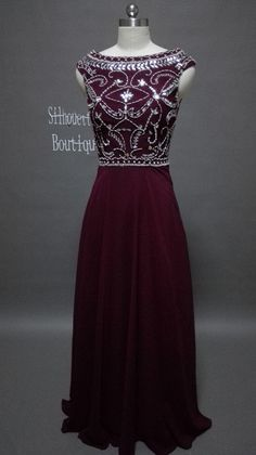 Etsy $154 Dark burgundy beaded long prom dress, prom dresses 2015 wedding reception,Homecoming Dress 2015