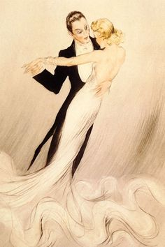 Couple Dance Waltz by Louis Icart