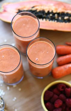 Refreshing, beautifying, and delicious. This papaya sunrise smoothie is one of my fav's.