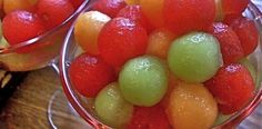 (roughly 7 1/2 cups of melon balls)  1 small, seedless watermelon  1 cantaloupe  1 honey dew melon  1 cup pineapple juice  1 cup raspberry vodka (or your favorite fruit flavored vodka)  1/2 cup triple sec