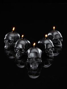 mini skull candles (Set of 5) by D.L.