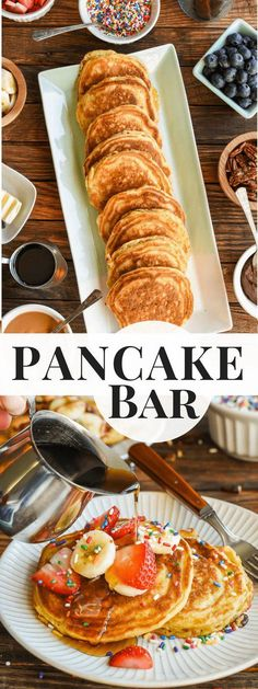 Learn how to throw an epic Pancake Bar Party with this easy guide for make ahead. Learn how to throw an epic Pancake Bar Party with this easy guide for make ahead buttermilk pancakes and loads of fun toppings! Birthday Breakfast, Birthday Brunch, Brunch Party, Easter Brunch, Party Party, Birthday Ideas, Teacher Breakfast, Brunch Food, Party Rock