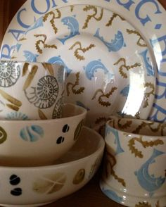 Emma Bridgewater: Down by the sea.... Fossils; Fish & Weed; Stones & Cambridge Blue
