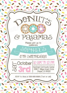 Donut and Pajamas Invitation Donut by SweetBeeDesignShoppe on Etsy