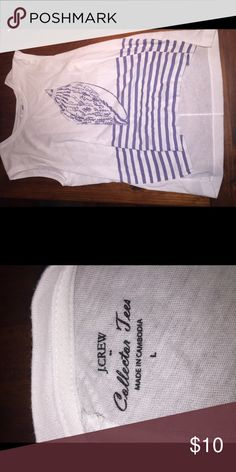 J Crew collections tee Blue and white collections tee, barely worn. Looks great over leggings or jeans. Can even double as a swim suit cover up! J. Crew Tops Tank Tops