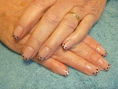 Silver French tips using Gelish Gel polish and polka dots