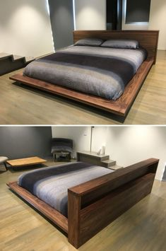 Walnut Platform Bed And Headboard by Bear Mountain Woodworking at Private Residence, Putnam Valley