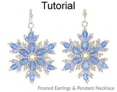 Beading Tutorial Pattern - Snowflake Earrings and Necklace Set - Simple Bead Patterns - Frosted Earrings & Pendant Necklace #24032