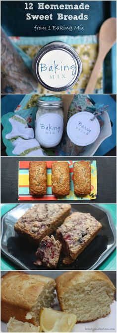This has been a life saver! 12 Homemade Sweet Breads from 1 homemade baking Mix. This makes an amazing gift to give, plus will make your time in the kitchen that much more enjoyable. Free printable gift tags, mason jar labels and recipe card. Quick Bread Recipes, Cooking Recipes, Pan Relleno, Dessert Bread, Dessert Recipes, Desserts, Cupcakes, Cakepops, Sweet Bread