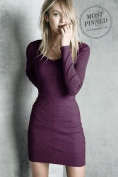 Diagonal ribbing and a center seam create a modern, textured effect in a body-loving dress kissed with cashmere. / A Kiss of Cashmere Ribbed Sweaterdress