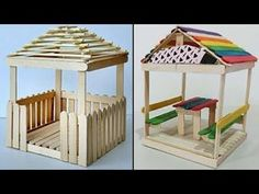 diy furniture tables – ideas for kids 5 Mini Relaxing Huts Popsicle Stick Crafts House, Popsicle Sticks, Craft Stick Crafts, Craft Ideas, Craft Sticks, Craft Stick Projects, Diy Projects, Easy Diy Crafts, Diy Home Crafts