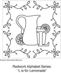 Free Redwork Alphabet Patterns H through N - Redwork Alphabet Embroidery Series Part 2, Page 6