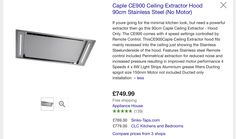 Caple ceiling extractor fan £749 Appliance House Extractor Hood, Extractor Fans, Minimal Kitchen, New Kitchen, Home Appliances, Cottage, Ceiling, House, Ideas