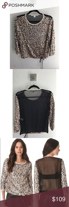 DVF Kavita Metallic Sequin Top DVF chiffon sequin blouse with a drawstring at the waist and a sheer back! I wore this top once with black leather shorts and heels. Perfect for holiday parties! Diane von Furstenberg Tops Blouses