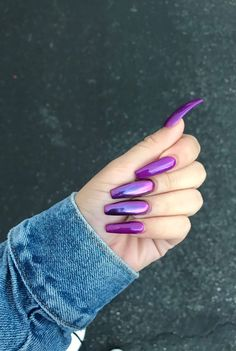 ✨💜✨VirginPearlsInc✨💜✨ Ideas you might love ✨💜✨ White acrylic nails = Nail art = Bling nails =<br> Perfect Nails, Gorgeous Nails, Love Nails, Fun Nails, Pretty Nails, Pink Gel, Purple Acrylic Nails, Purple Chrome Nails, Acrylic Nails Chrome