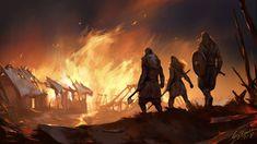 ArtStation Village on fire Valhalla Barbara Gołębiewska Fantasy village Fantasy landscape Fantasy story ideas