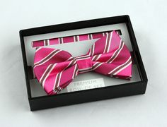 New Fuschia & Pink Mens Bow Tie + Hanky Hankie Tuxedo Wedding Fashion Bowtie Set #VenettoCollection #BowTie