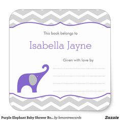 Purple Elephant Baby Shower Bookplate, girl Square Sticker