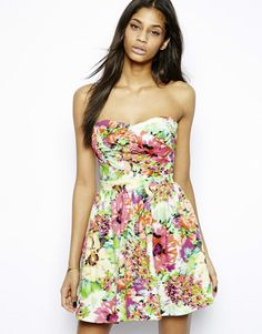 Lipsy Floral Pleated Bandeau Bustier Dress