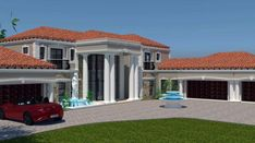 This luxury 5 bedroom house plan with photos has 5 garages. Browse double storey house designs and home designs in Limpopo. House Plans For Sale, 3d House Plans, Unique House Plans, Indian House Plans, Small House Floor Plans, House Plans With Photos, Duplex House Plans, Bungalow House Plans, Contemporary House Plans