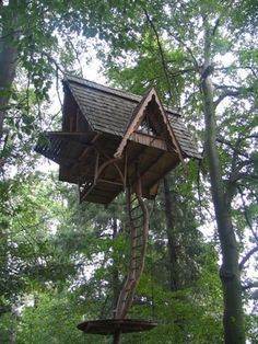 I love how this forest treehouse looks like it's floating away, tethered by its ladder