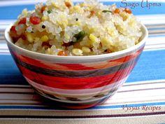 Saggubiyyam Upma South Indian Breakfast Recipes, Indian Food Recipes, Sabudana Khichdi, Yummy Food, Delicious Recipes, Vegetables, Delicious Food, Veggies, Indian Recipes