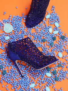 CANDYFORNIA STUDIO | POINTURE     #CandyforniaStudio #Pointure #Editorial #Studio #Shoot #StudioShoot #Fashion #CreativeDirection #RyanHoussari #photography #Shoes #Bags #blue #Sparkle #Styling #Orange #FashionPhotography #Candy