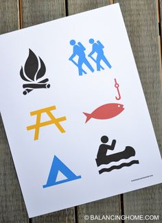 camp sign icon art. Goes with a camping birthday printable package, but would be super cute in a kid room too!