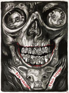 You Consume Their Terror, 2011. drawing Sue Coe