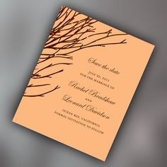 Woodland Wedding Save The Date Cards with Bare Tree Branches, Fall Wedding, Autumn Branches. $50.00, via Etsy.