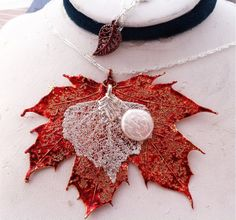 Real Leaf Jewelry, Exclusive Design, Maple leaf, birch leaf, freshwater pearl, silver chain, by natures leaves