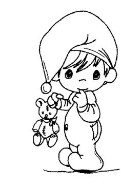 Sleepy Precious Moment Coloring Pages - Precious Moments cartoon coloring pages